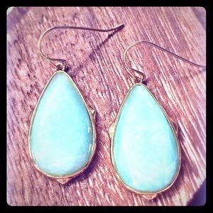Aqua gold drop earrings